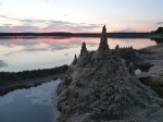 Sunset behind the world's loveliest sandcastle.